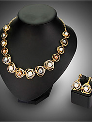 18kGold Pearl Necklace Earrings Jewelry Set for Lady Wedding Party