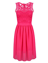 Women's Simple Solid Plus Size Slim Hollow Out Lace Patchwork Lace / Sheath Dress,Round Neck Above Knee