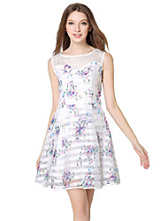 Women's Casual/Daily Simple A Line / Chiffon Dress,Floral Round Neck Knee-length Sleeveless White Cotton