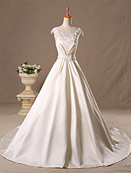 Princess Wedding Dress Sweep / Brush Train Scoop Satin / Tulle with Beading / Lace