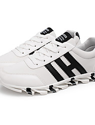 Femme-Sport-Noir / Bleu / Blanc-Talon Plat-Confort-Sneakers-Coton