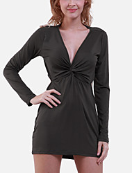 Women's Sexy Tight Low-cut Party  The Master Design Mini Dress  (Silk/Polyester)
