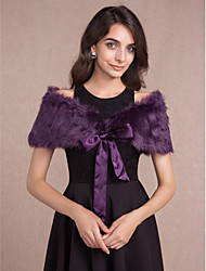 Women's Wrap Capelets Sleeveless Faux Fur Purple Wedding / Party/Evening Off-the-shoulder 50cm Bow Lace-up