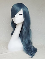 Cos 22 Inch Long Curly Wig Smoke Blue Hair Wigs