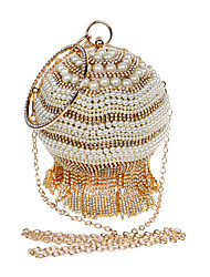 L.WEST Women's The Elegant Luxury Handmade The Spherical Tassel Pearl Diamonds Evening Bag