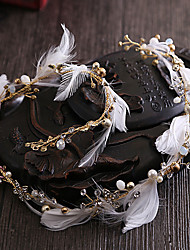 Femme Plume Strass Laiton Imitation de perle Casque-Mariage Occasion spéciale Serre-tête 1 Pièce