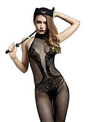 Feminino Conjunto Roupa de Noite,Sexy / Retro Jacquard,Médio Náilon / Raiom Preto Mulheres