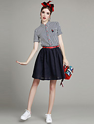Women's Going out Street chic A Line Dress,Striped Shirt Collar Mini Short Sleeve Blue Polyester Summer