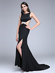 2017 TS Couture® Formal Evening Dress Sheath / Column Bateau Sweep / Brush Train Stretch Satin with Split Front