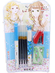 Set of Stationery for Student(A Gel pen, an Erasable Pen,4 Gel Refills, a Stapler)