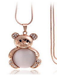 Exquisite Crystal Bear Pendant Necklace Jewelry for Lady