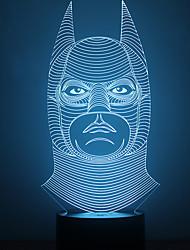 incrível 3d lllusion mesa de luz conduzida da noite lâmpada com forma batman luz que muda de cor à noite