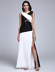 Formal Evening Dress Sheath / Column V-neck Floor-length Jersey with Split Front / Sequins