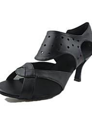 Women's Dance Shoes Leatherette Latin / Jazz Sandals / Heels Heel Practice / Indoor Black Customizable