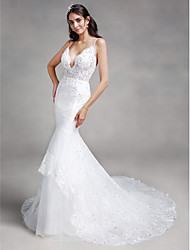 Lanting Bride® Trumpet / Mermaid Wedding Dress Chapel Train Spaghetti Straps Lace / Tulle with Appliques / Sequin