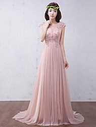 Formal Evening Dress A-line Scoop Sweep / Brush Train Chiffon with Appliques / Beading