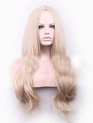 Blonde long Wave Curls Natural Synthetic Wigs Hot Selling European Woman Wigs
