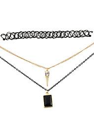 Women's Choker Necklaces Pendant Necklaces Alloy Resin Rhinestone Simulated Diamond Fashion Vintage Adjustable Adorable Black/White