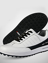 Masculino-TênisRasteiro-Preto e Branco-Pele-Ar-Livre / Casual / Para Esporte