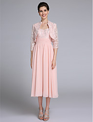 Lanting Bride Sheath / Column Mother of the Bride Dress Tea-length 3/4 Length Sleeve Chiffon / Lace with Ruching / Sequins