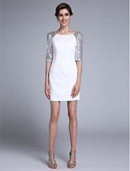 LAN TING BRIDE Sheath / Column Mother of the Bride Dress - Sparkle & Shine Short / Mini Half Sleeve Chiffon with Sequins