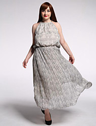 Women's Casual/Daily / Plus Size Vintage Swing Dress,Print Round Neck Maxi Sleeveless Gray Polyester Summer