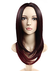 Middle Part #99J Long Straight Cap Synthetic Wigs For Woman