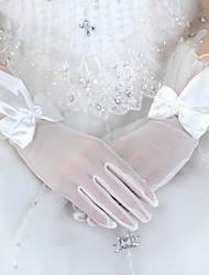 Wrist Length Fingertips Glove Tulle Bridal Gloves / Party/ Evening Gloves Spring / Summer / Fall White / Red