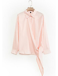 Women's Solid Pink Casual All Match Lace Up Fashion Shirt,Shirt Collar Long Sleeve