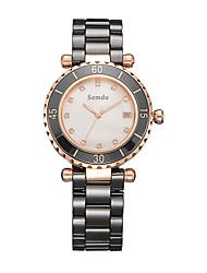 Semdu® Fashion Vintage Ceramic Women Wristwatch Noctilucent Calendar Function Waterproof Watch