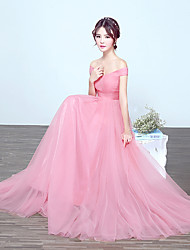 A-Line Off-the-shoulder Floor Length Tulle Bridesmaid Dress with Draping by DRRS