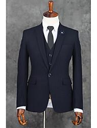 2017 ternos Slim Fit notch única breasted um botão listras poliéster 3 peças escuro Liso Azul bateu preto