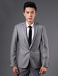 2017 Suits Tailored Fit Notch Single Breasted One-button Polyester Solid 2 Pieces Black / Gray Straight Flapped None