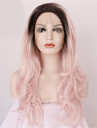 2 Tones Synthetic Lace Front Wig Black Pink Ombre Color Wavy Wigs Top Quality