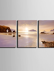 E-HOME® Stretched Canvas Art Landscape Under The Setting Sun Decoration Painting  Set Of 3
