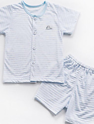 Baby Casual/Daily Striped Clothing Set-Cotton-Summer-Gray