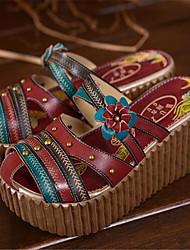 Calçados Femininos-Saltos-Saltos-Salto Grosso-Vermelho-Couro Ecológico-Casual