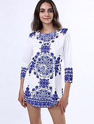 Women's Vintage Casual Print Micro-elastic Long Sleeve Above Knee Dress (Cotton)
