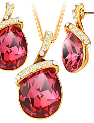 High Quality Blue/Red Crystal Water Drop Leaves Romantic 18K Gold/Platinum Unique Design For Women Jewelry Sets S20184