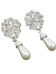 Lady Fashion Five Leaf Flowers Water Droplets Pearl Earrings