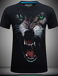 Men's Fashion Guitar Cotton Printing Angry Wolf Summer 3D T-shirts
