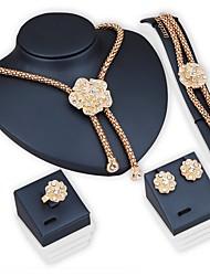 Parures de mariée ensembles de bijoux fleur strass bracelet earrring ensembles collier