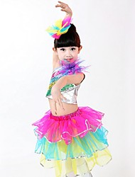 Latin Dance Outfits Children's Performance Cascading Ruffle 2 PiecesLatin Dance Sleeveless Dropped Top / Skirt