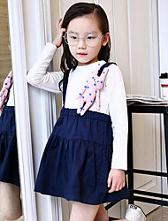 Girl's Casual/Daily Patchwork Dress,Cotton Spring / Fall Blue / Yellow