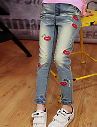 Girl's Cotton Spring/Fall Fashion Red Lips Embroidered Jeans