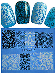 1pcs  New Nails Art  Lace Sticker Colorful Image Design Manicure Nail Art Tips STZ-V006-010
