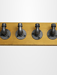 Loft Vintage Metal Coat Rack Iron Wall Coat Hanger Hooks Clothes Hanger Stand with 40*15cm Wood FJ-ZN1Y-013A0