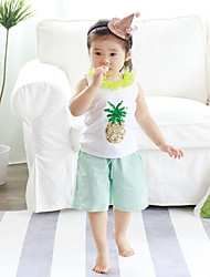 Girl's Casual/Daily Print Pants,Cotton Summer Green