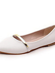 Women's Shoes Patent Leather Flat Heel Comfort / Pointed Toe Flats Office & Career / Casual Black / Pink / White