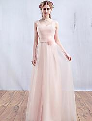 2017 Abendkleid-Perle rosa a-line Riemen bodenlangen Tüll